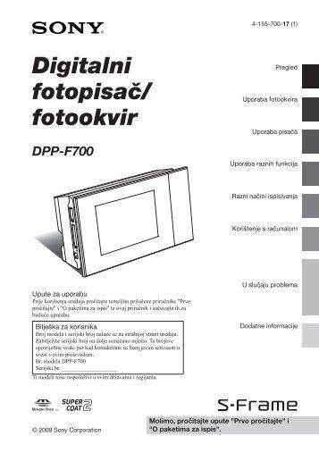 Sony DPP-F700 - DPP-F700 Istruzioni per l'uso Croato