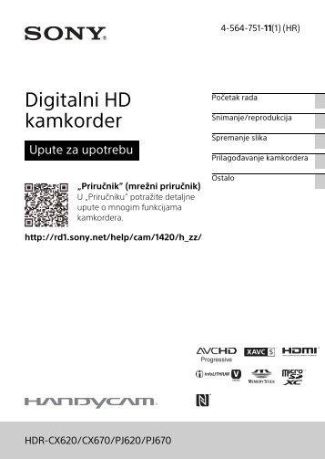 Sony HDR-CX620 - HDR-CX620 Istruzioni per l'uso Croato