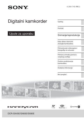 Sony DCR-SX45E - DCR-SX45E Istruzioni per l'uso Croato