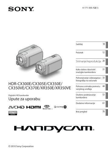 Sony HDR-XR350E - HDR-XR350E Istruzioni per l'uso Croato