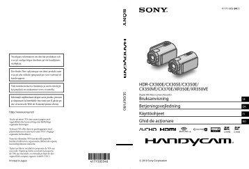 Sony HDR-XR350E - HDR-XR350E Istruzioni per l'uso Svedese