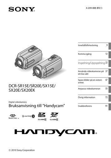 Sony DCR-SX15E - DCR-SX15E Istruzioni per l'uso Svedese
