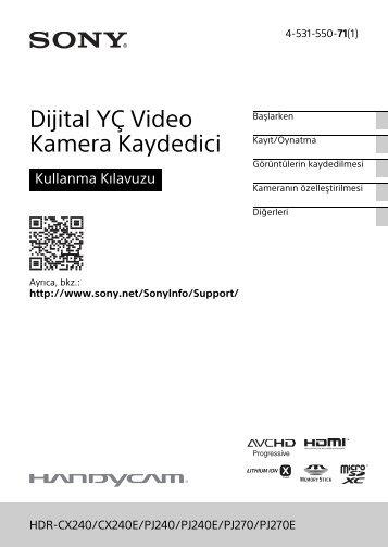 Sony HDR-PJ240E - HDR-PJ240E Istruzioni per l'uso Turco
