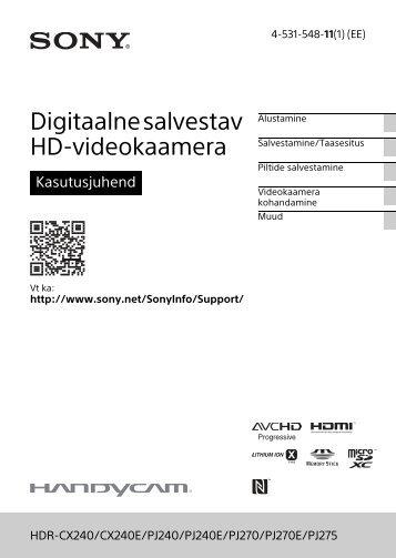 Sony HDR-PJ240E - HDR-PJ240E  Estone