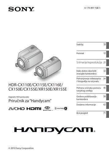 Sony HDR-CX150E - HDR-CX150E Istruzioni per l'uso Croato