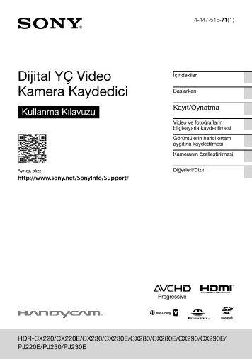 Sony HDR-PJ220E - HDR-PJ220E Istruzioni per l'uso Turco