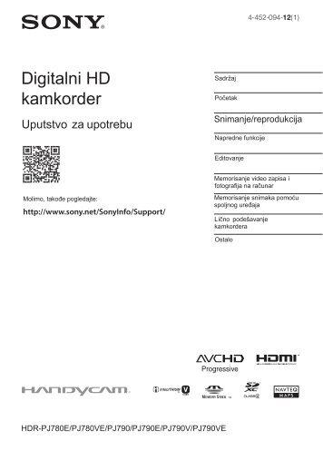 Sony HDR-PJ780VE - HDR-PJ780VE Istruzioni per l'uso Serbo