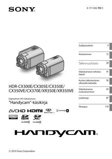 Sony HDR-CX370E - HDR-CX370E Istruzioni per l'uso Finlandese