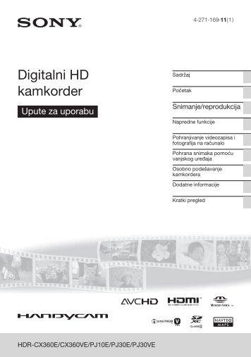 Sony HDR-CX360VE - HDR-CX360VE Istruzioni per l'uso Croato