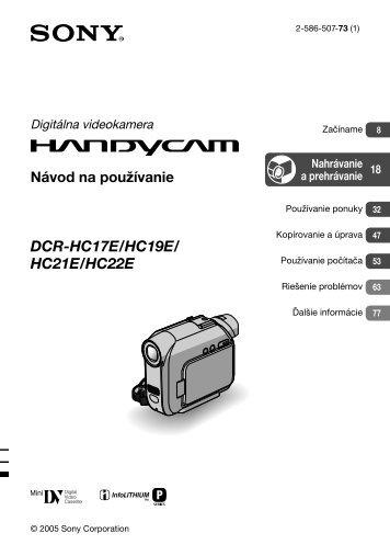 Sony DCR-HC17E - DCR-HC17E Istruzioni per l'uso Slovacco