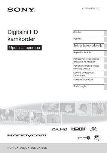 Sony HDR-CX160E - HDR-CX160E Istruzioni per l'uso Croato