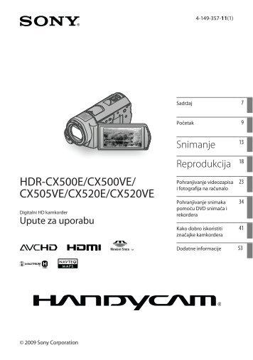 Sony HDR-CX520VE - HDR-CX520VE Istruzioni per l'uso Croato