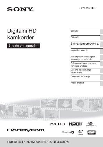 Sony HDR-CX560E - HDR-CX560E Istruzioni per l'uso Croato