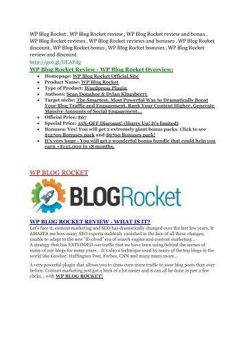 WP Blog Rocket Review & WP Blog Rocket $16,700 bonuses