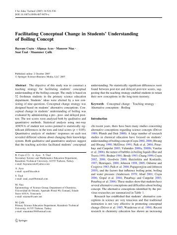 Facilitating Conceptual Change in Students' Understanding of ...