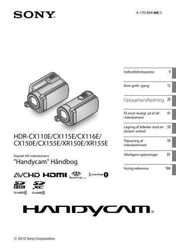 Sony HDR-CX116E - HDR-CX116E Istruzioni per l'uso Danese