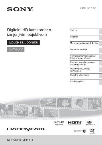 Sony NEX-VG20E - NEX-VG20E Istruzioni per l'uso Croato
