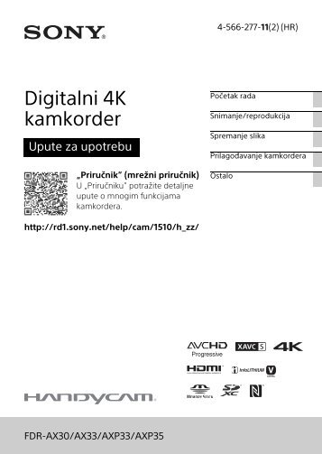 Sony FDR-AX33 - FDR-AX33 Istruzioni per l'uso Croato