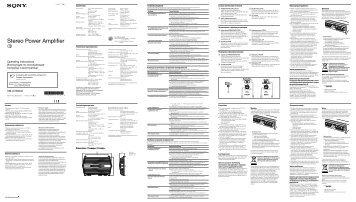 Sony XM-GTX6041 - XM-GTX6041 Istruzioni per l'uso Inglese