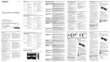 Sony XM-GTR4A - XM-GTR4A Istruzioni per l'uso Russo