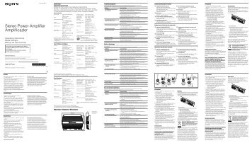 Sony XM-GTR4A - XM-GTR4A Istruzioni per l'uso Francese