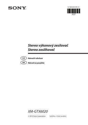 Sony XM-GTX6020 - XM-GTX6020 Istruzioni per l'uso Slovacco