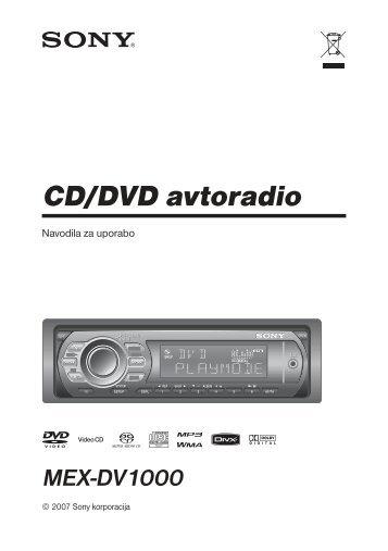 Sony MEX-DV1000 - MEX-DV1000 Istruzioni per l'uso Sloveno