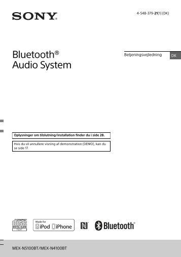 Sony MEX-N5100BT - MEX-N5100BT Istruzioni per l'uso Danese