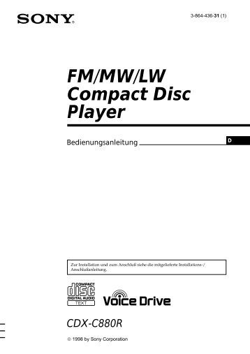 Sony CDX-C880R - CDX-C880R Istruzioni per l'uso Tedesco