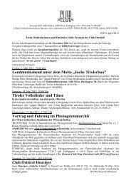 "Landmusikabend unter dem Motto ""Juche Tirolerbua ... - Club Osttirol"