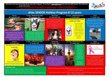 sKids SENIOR Holiday Program 8-13 years