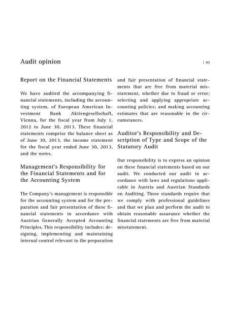 Annual Report of Euram Bank Vienna 2012/2013