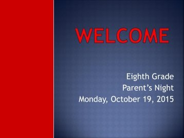 Parent's Night Monday October 19 2015