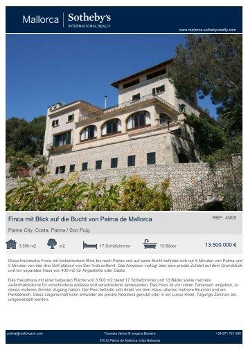 Finca mit Blick auf die Bucht von Palma de Mallorca