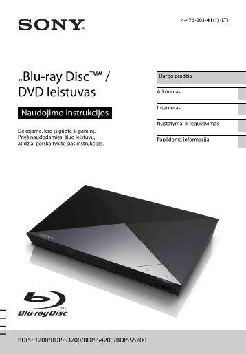 Sony BDP-S1200 - BDP-S1200 Istruzioni per l'uso Lituano