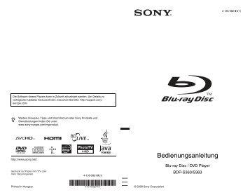Sony BDP-S360 - BDP-S360 Istruzioni per l'uso Tedesco