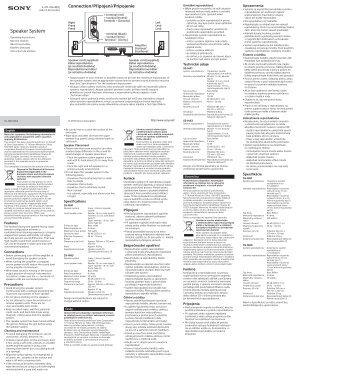 Sony SS-HA1 - SS-HA1 Istruzioni per l'uso Ceco