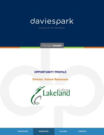 OPPORTUNITY PROFILE Director Human Resources