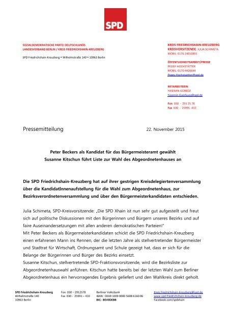 PM SPD Xhain stellt sich für Wahlen im September 2016 auf