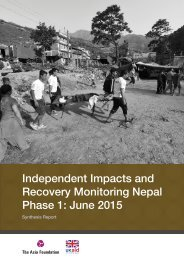 Independent Impacts and Recovery Monitoring Nepal Phase 1 June 2015