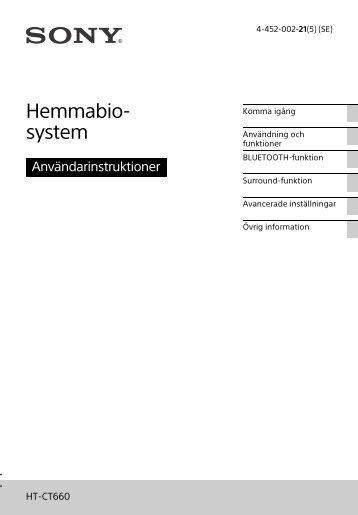 Sony HT-CT660 - HT-CT660 Istruzioni per l'uso Svedese