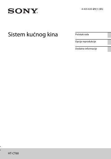 Sony HT-CT60 - HT-CT60 Istruzioni per l'uso Bosniaco