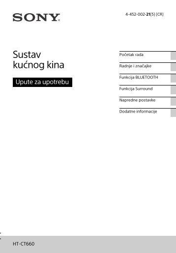Sony HT-CT660 - HT-CT660 Istruzioni per l'uso Croato