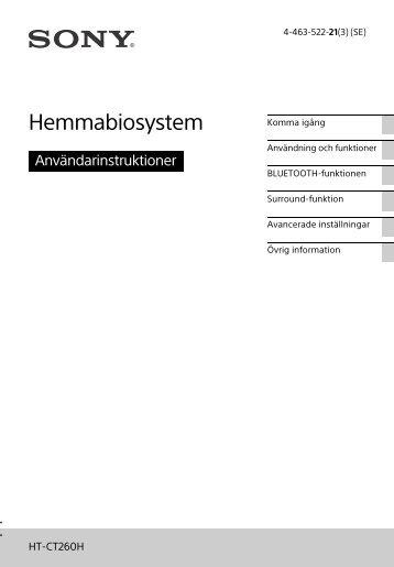 Sony HT-CT260H - HT-CT260H Istruzioni per l'uso Svedese