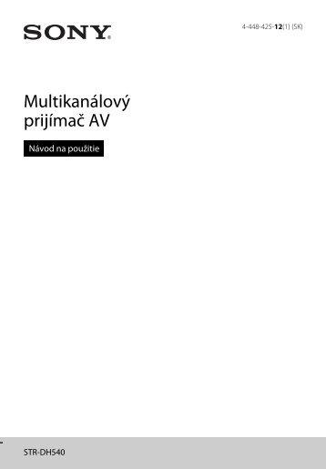 Sony STR-DH540 - STR-DH540 Istruzioni per l'uso Slovacco