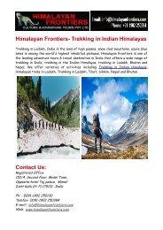 Trekking in Indian Himalayas & Trekking in Ladakh