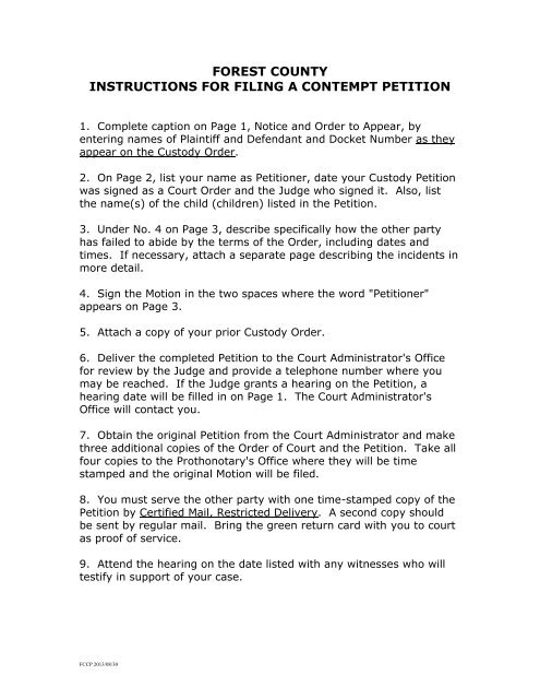 forest county instructions for filing a contempt petition