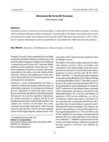 Anticancer activities of curcumin