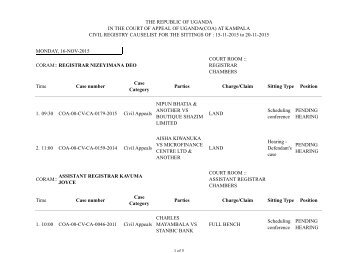 Court of Appeal Cause List, 11th -15th November 2013