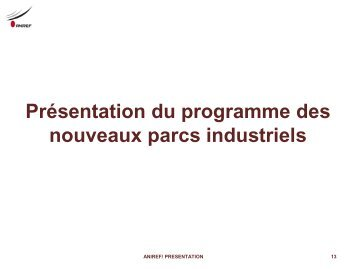Présentation du programme des nouveaux parcs industriels